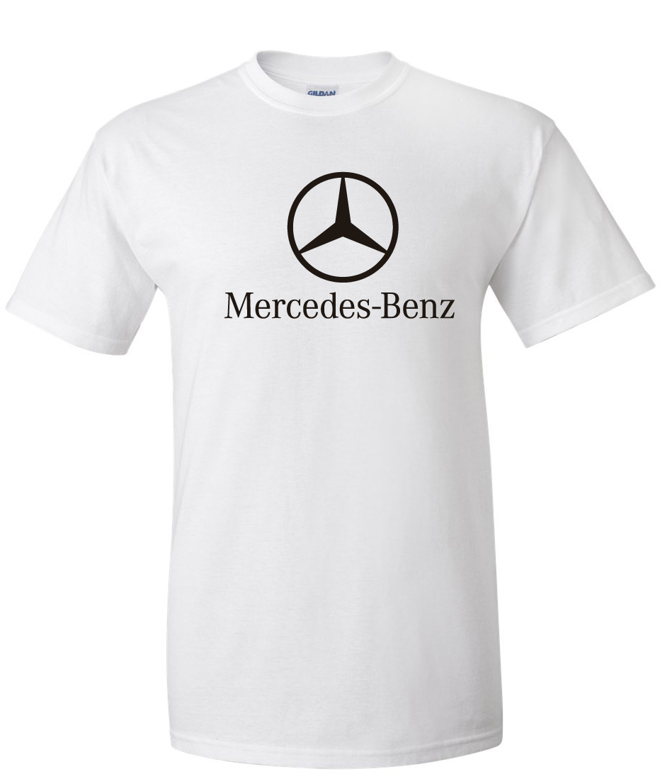 Benz logo white supergraphictees for Mercedes benz apparel