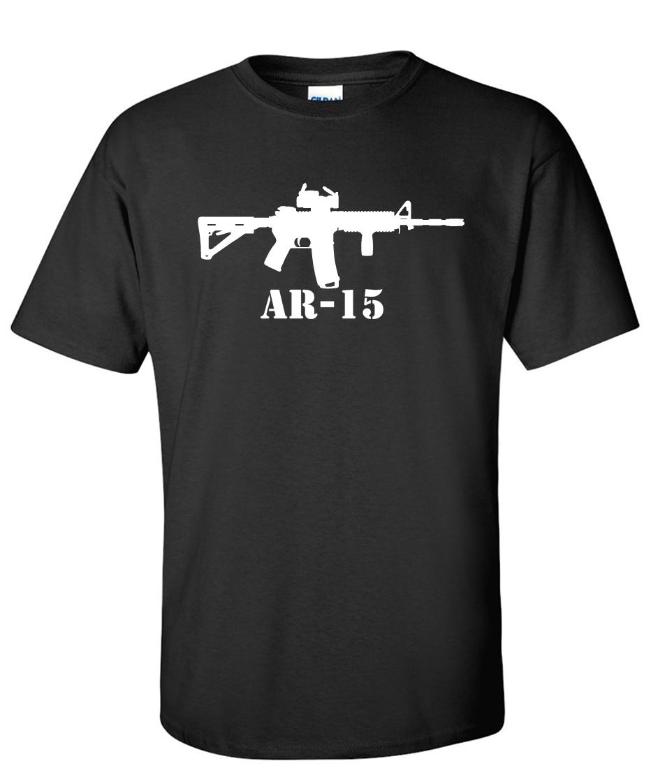Ar 15 Rifle Machine Gun Logo Graphic T Shirt